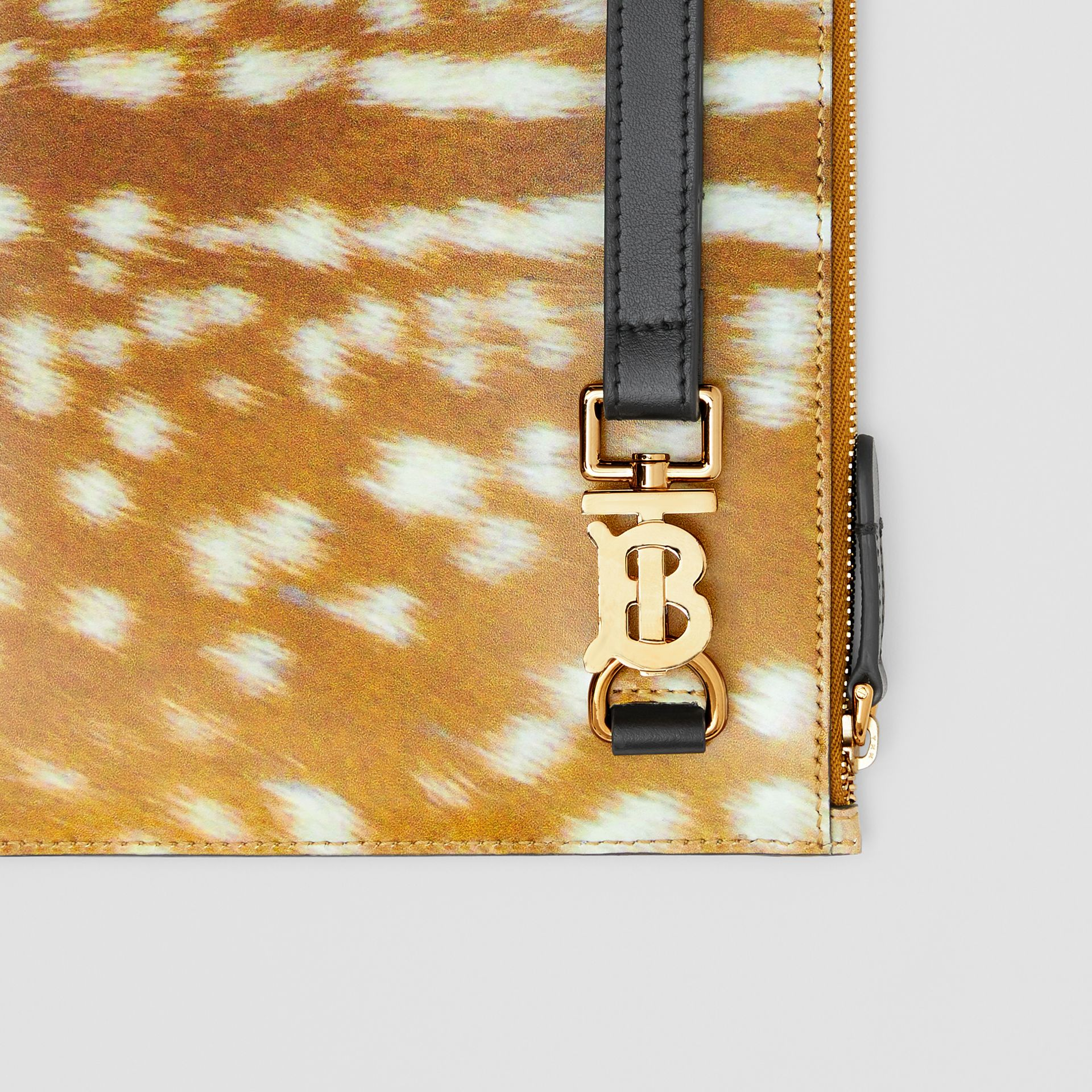Deer Print Leather Zip Pouch in Malt Brown | Burberry Singapore - gallery image 1