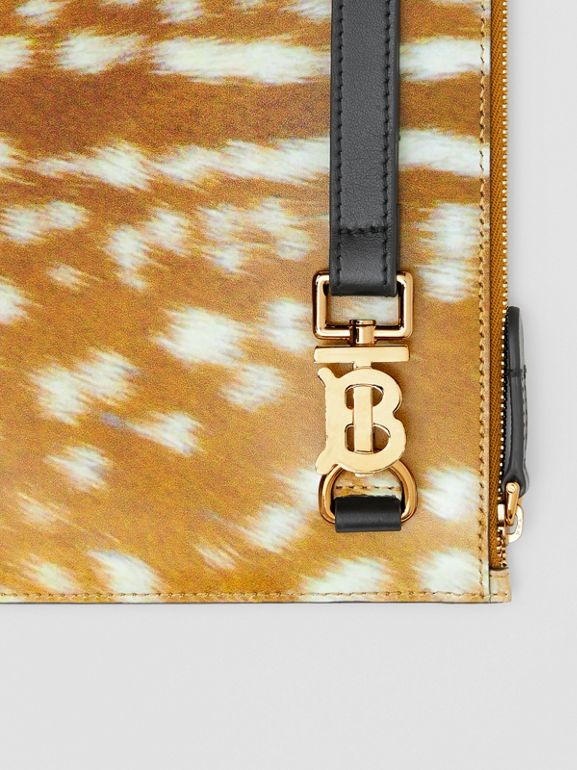 Deer Print Leather Zip Pouch in Malt Brown | Burberry Singapore - cell image 1
