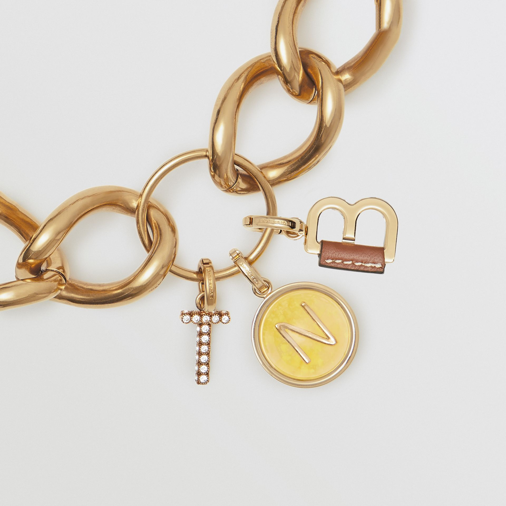 Marbled Resin 'V' Alphabet Charm in Gold/mimosa - Women | Burberry Singapore - gallery image 2