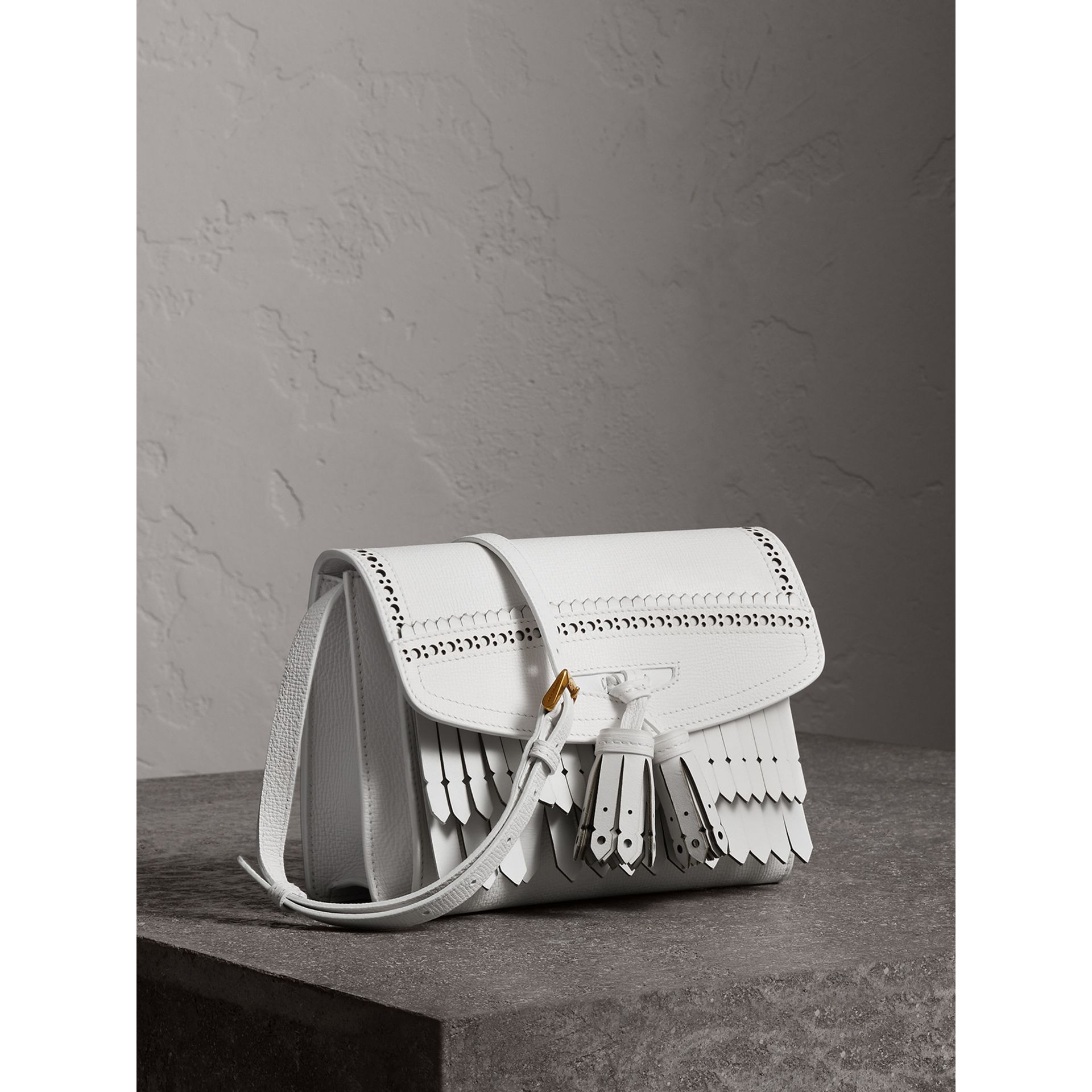 Brogue and Fringe Detail Leather Crossbody Bag in Chalk White - Women | Burberry - gallery image 6