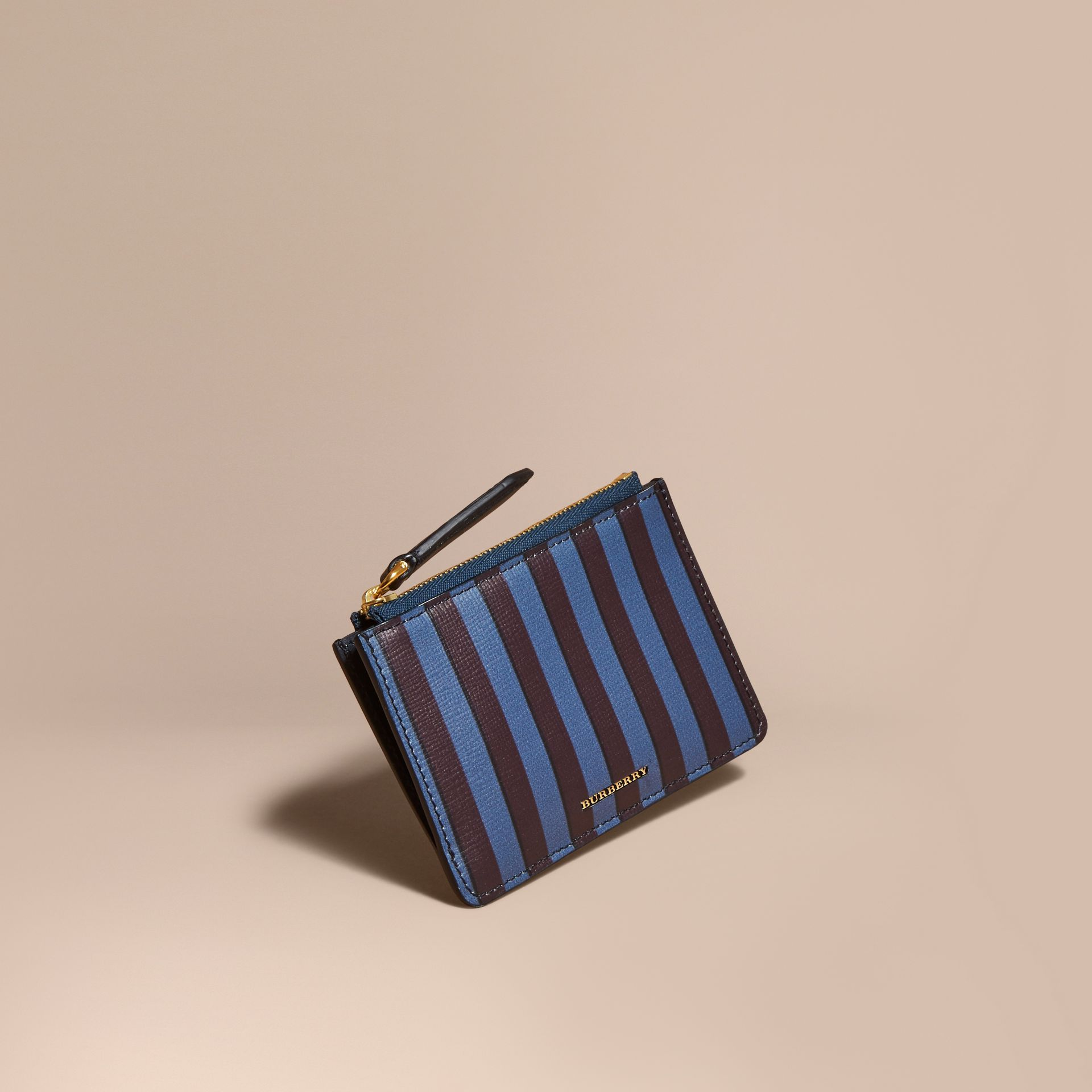 Navy Pyjama Stripe London Leather Zip-top Wallet - gallery image 1