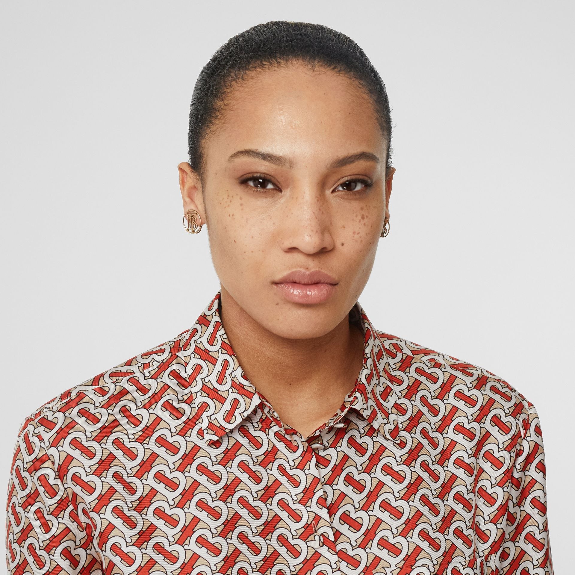 Monogram Print Silk Oversized Shirt in Vermillion Red - Women | Burberry United Kingdom - gallery image 1