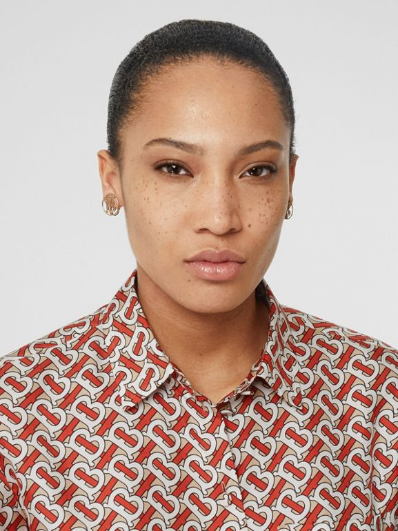 Monogram Print Silk Oversized Shirt in Vermillion Red - Women | Burberry United Kingdom - cell image 1