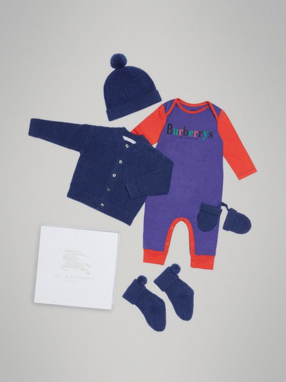 Cashmere and Cotton Three-piece Baby Gift Set in Bright Navy
