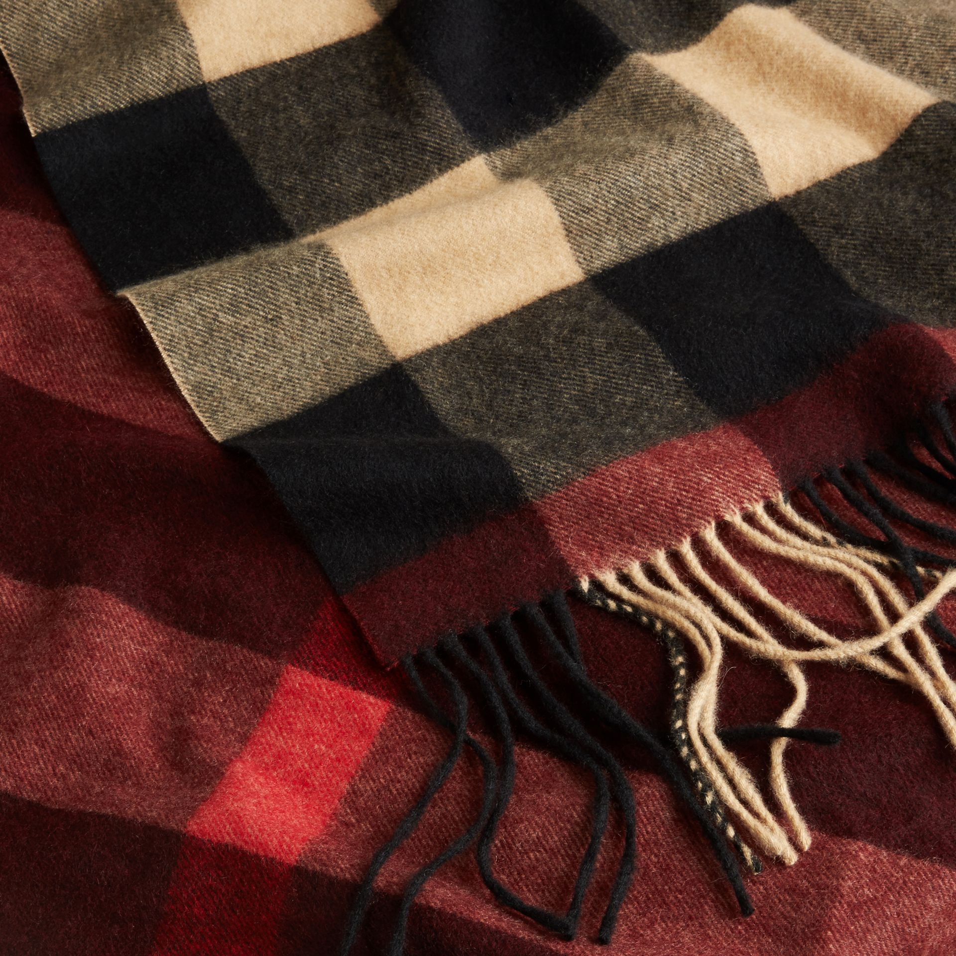 Oversize Check Cashmere Scarf in Claret - gallery image 2