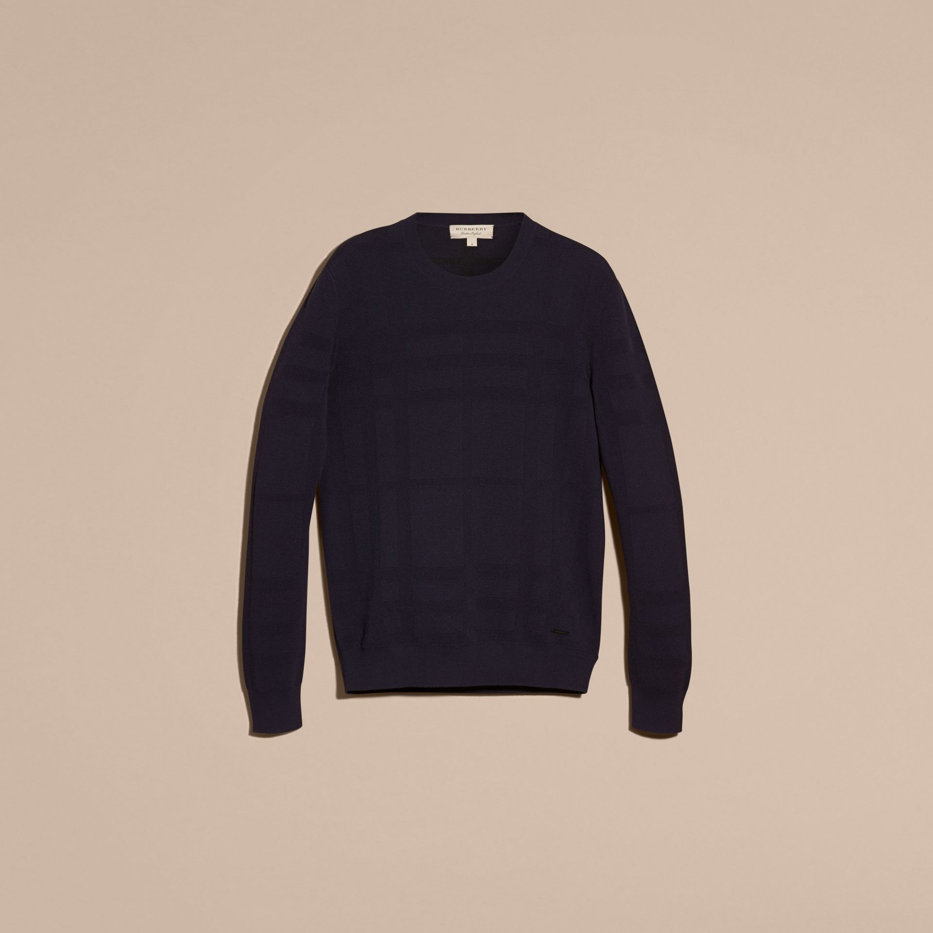 Navy Lightweight Check Jacquard Silk Wool Sweater - gallery image 4
