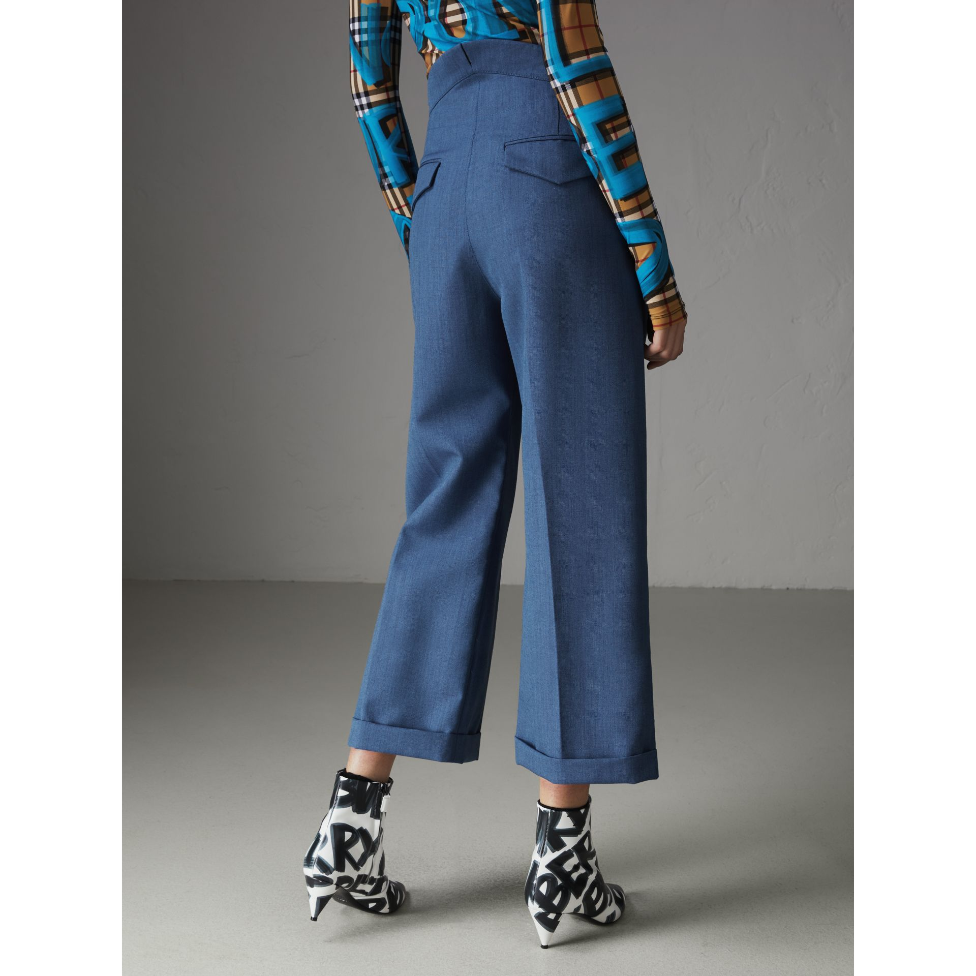Wool Mohair Cropped Tailored Trousers in Bright Navy - Women | Burberry Singapore - gallery image 2