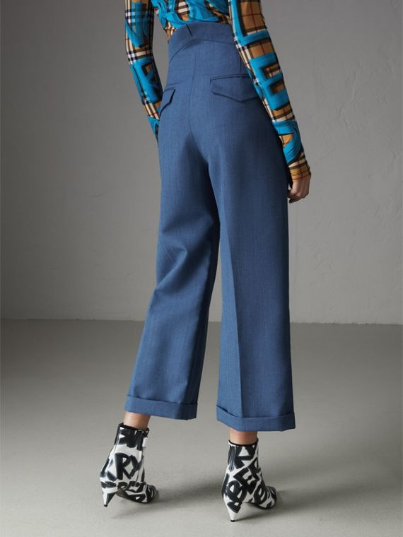 Wool Mohair Cropped Tailored Trousers in Bright Navy - Women | Burberry Singapore - cell image 2