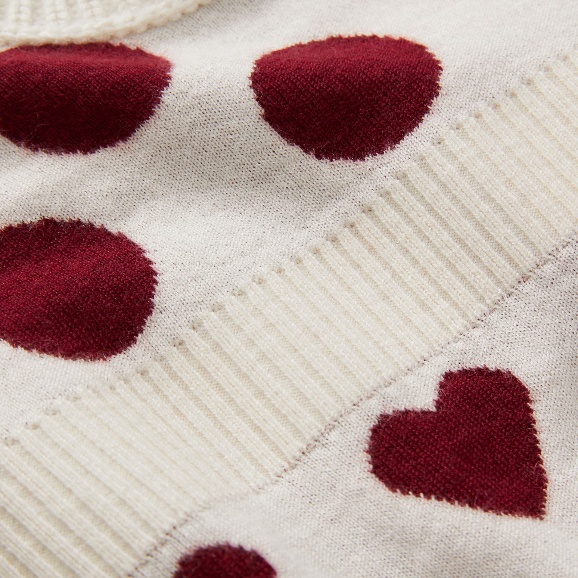 Heart and Spot Intarsia Cashmere Sweater Dress in Natural White - Children | Burberry - gallery image 1