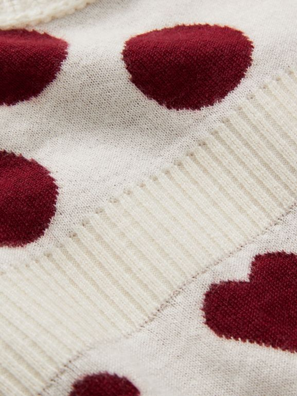 Heart and Spot Intarsia Cashmere Sweater Dress in Natural White - Children | Burberry - cell image 1
