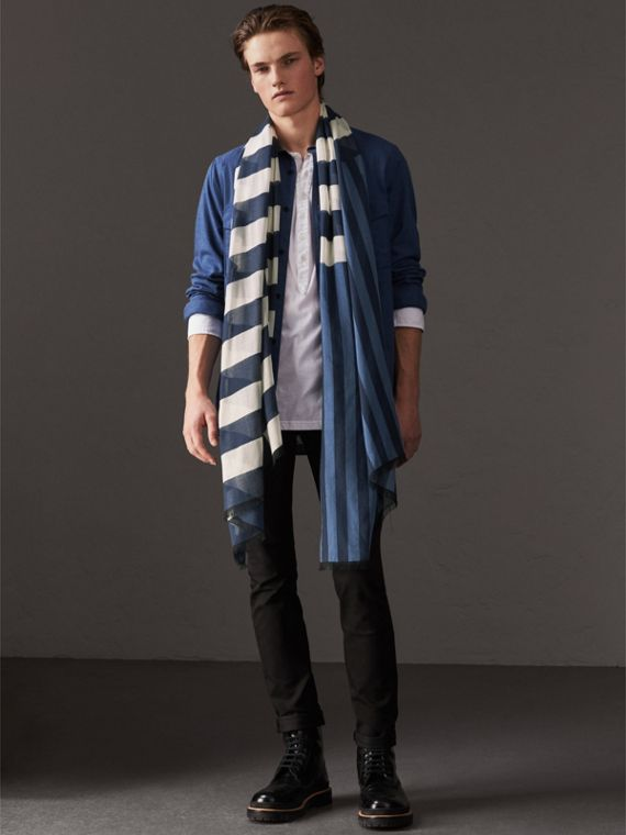 Contrast Stripe Cashmere Silk Scarf in Indigo - Women | Burberry - cell image 3