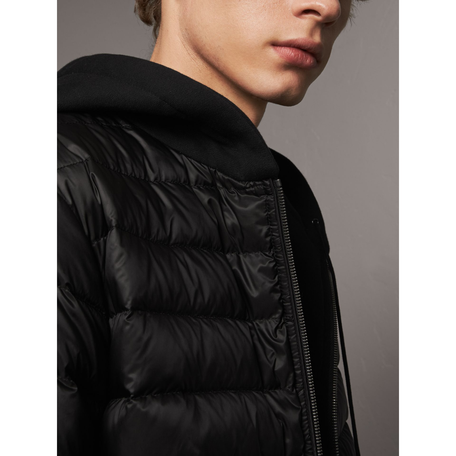 Reversible Down-filled Hooded Bomber Jacket in Black - Men | Burberry Australia - gallery image 1