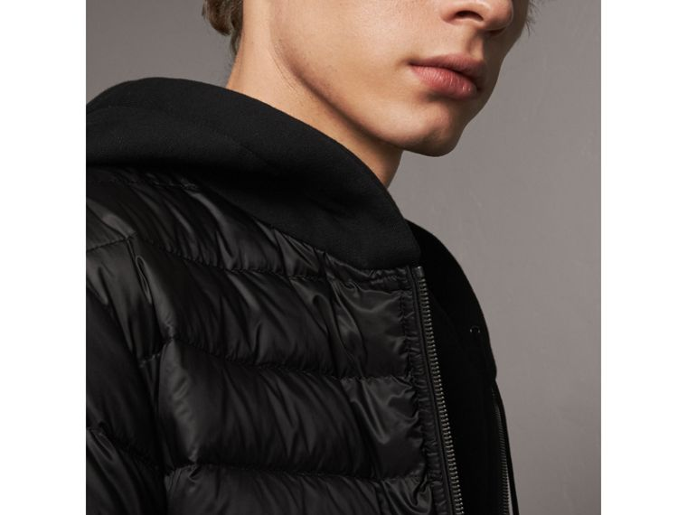 Reversible Down-filled Hooded Bomber Jacket in Black - Men | Burberry Australia - cell image 1