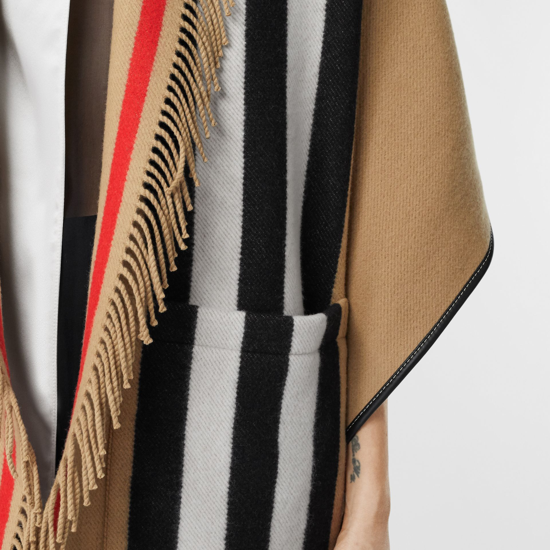 Icon Stripe Wool Cashmere Jacquard Cape in Archive Beige - Women | Burberry Canada - gallery image 4