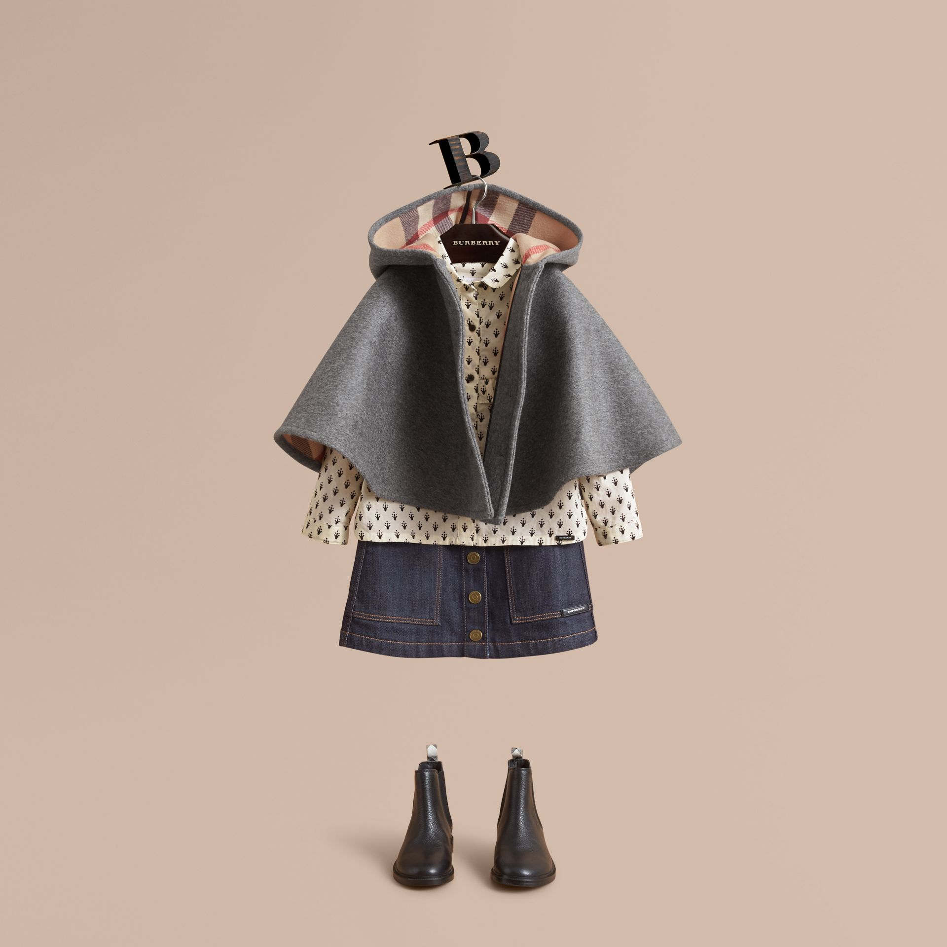 Hooded Check Detail Wool A-line Cape in Mid Grey Melange - Girl | Burberry - gallery image 0