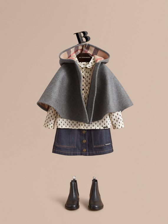 Hooded Check Detail Wool A-line Cape