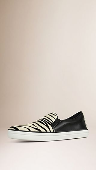 Animal Print Calfskin and Leather Trainers