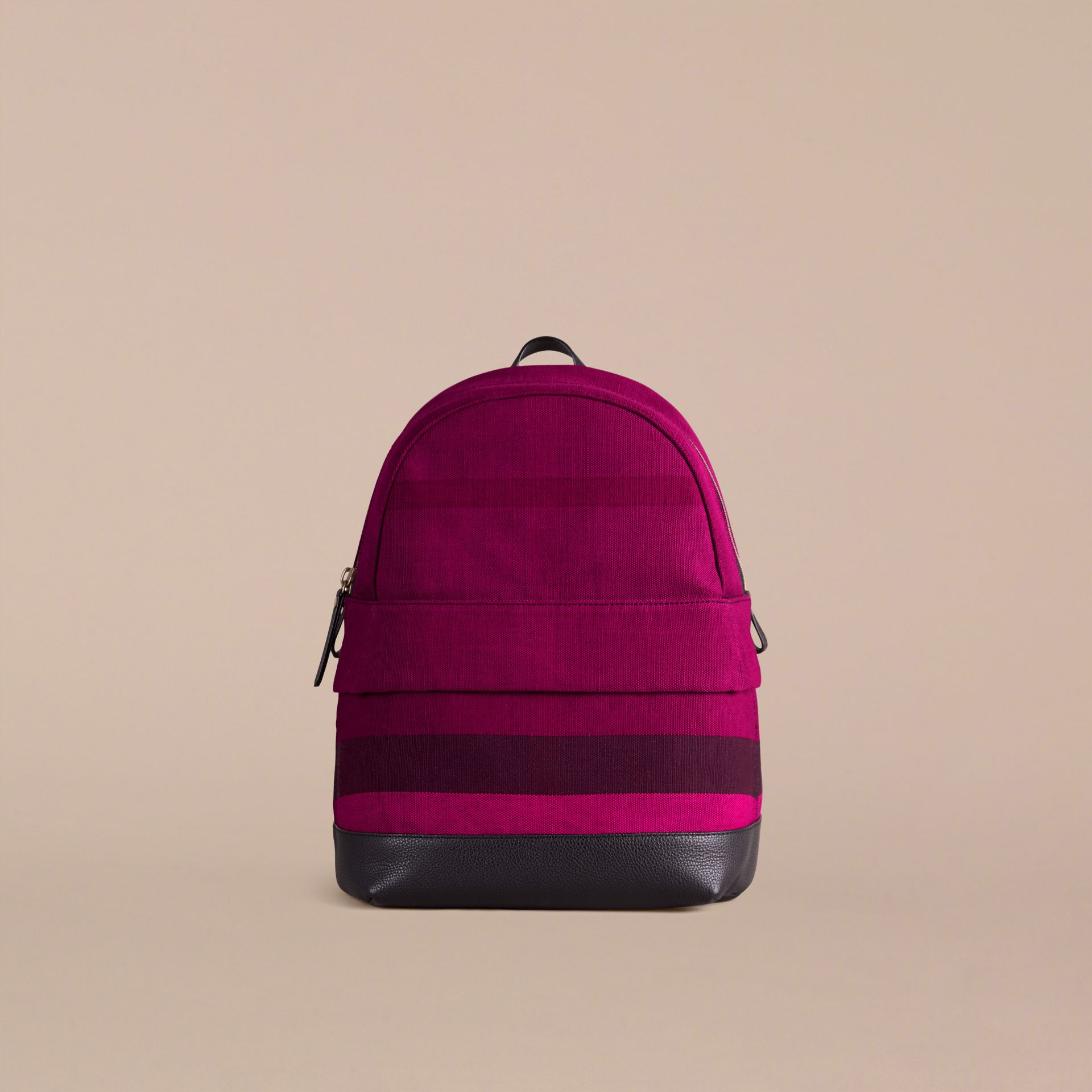 Plum Canvas Check and Leather Backpack - gallery image 2