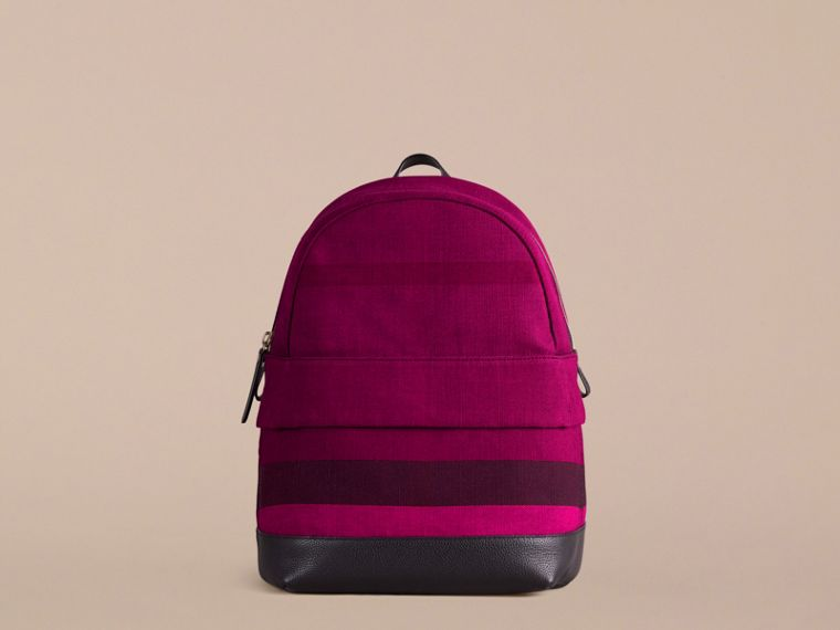 Plum Canvas Check and Leather Backpack - cell image 1