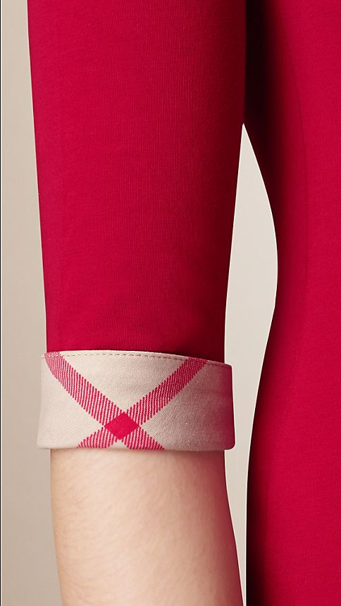 Lacquer red Check Cuff Stretch-Cotton Top Lacquer Red - Image 3