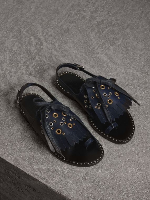 Kiltie Fringe Leather Sandals in Navy