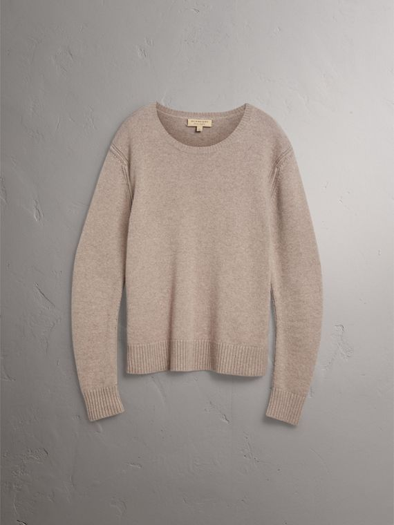 Open-knit Detail Wool Cashmere Sweater in Camel Melange - Men | Burberry United States - cell image 3