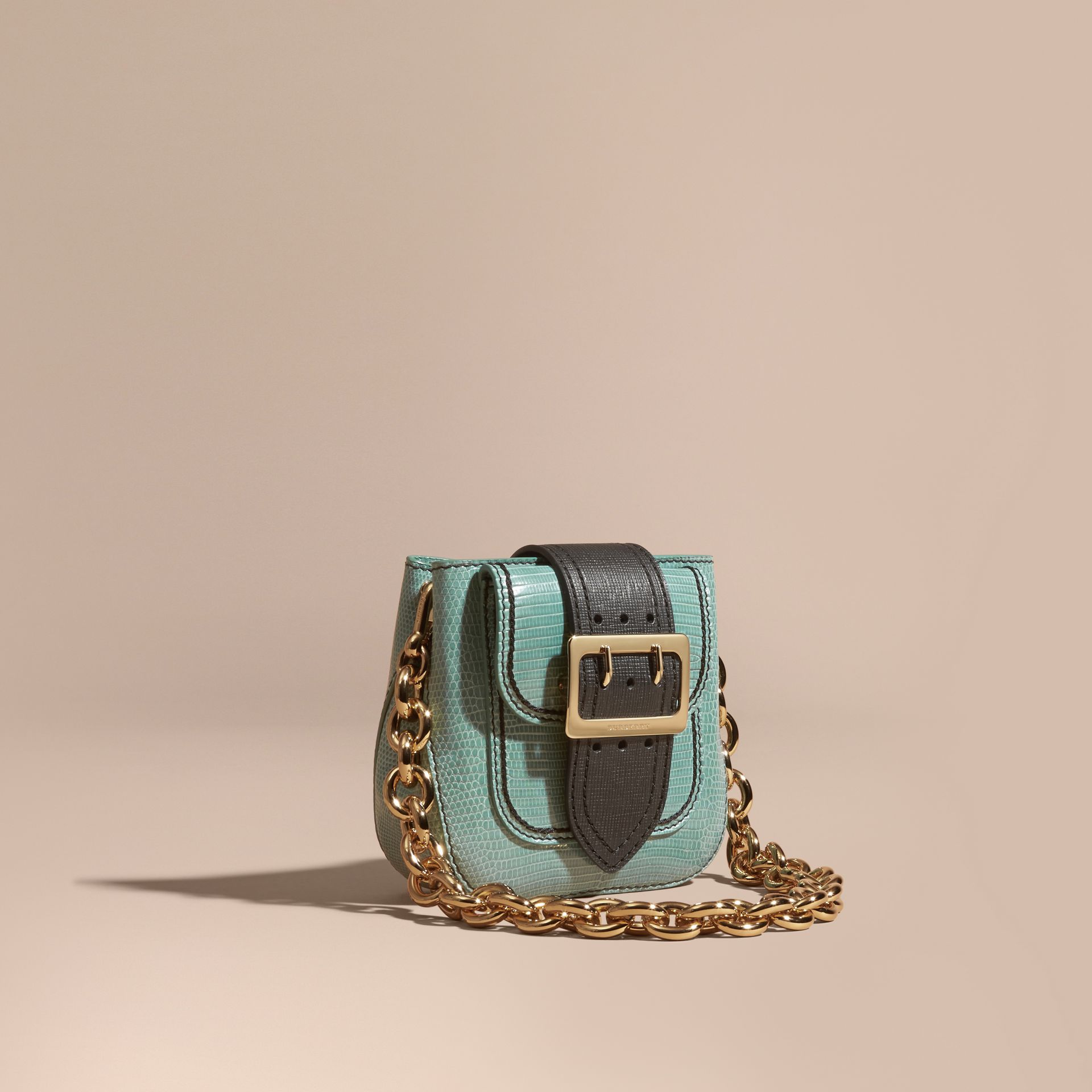 Dusty mint The Small Square Buckle Bag in Lizard - gallery image 1