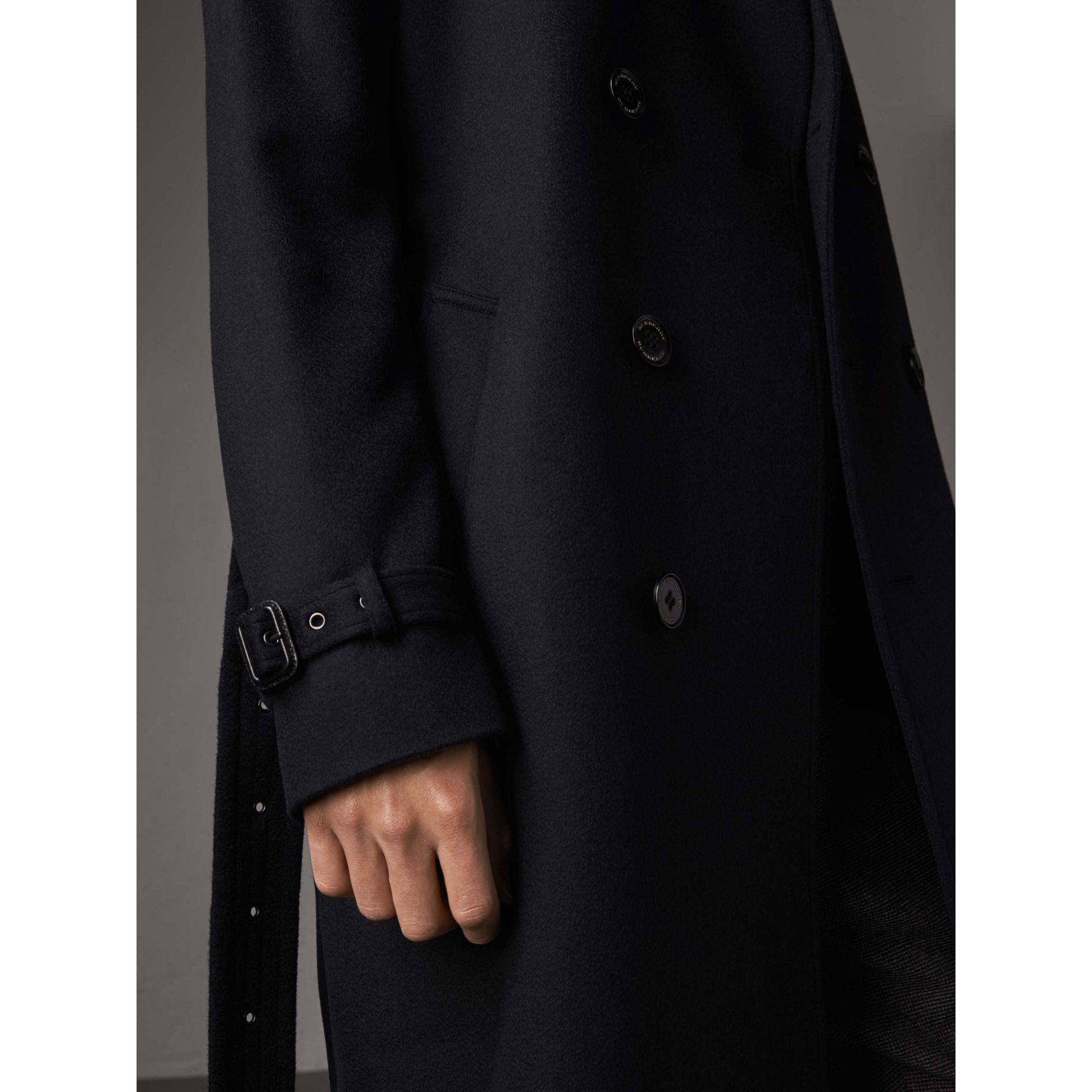 Cashmere Trench Coat in Navy - Men | Burberry Australia - gallery image 5