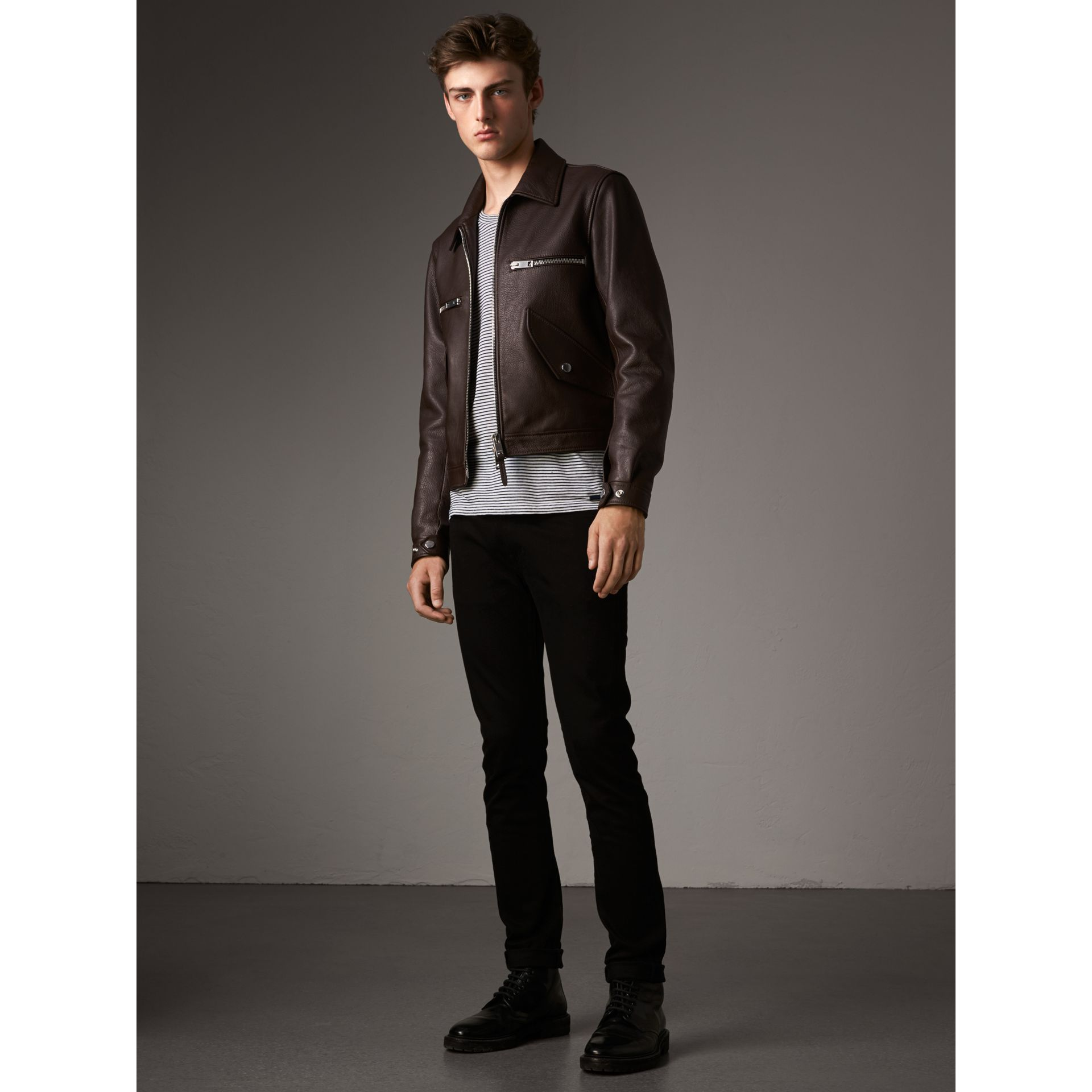 Tumbled Leather Jacket in Bitter Chocolate - Men | Burberry - gallery image 6