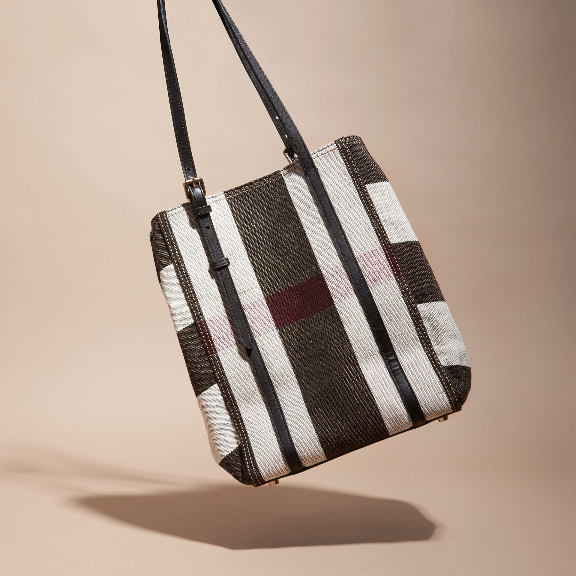 Black Striped Canvas Tote with Leather Trim - gallery image 4