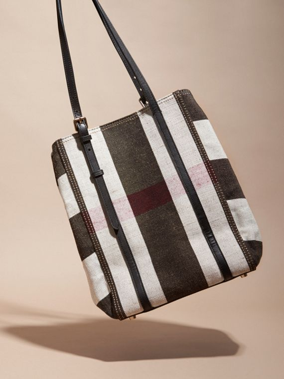 Black Striped Canvas Tote with Leather Trim - cell image 3