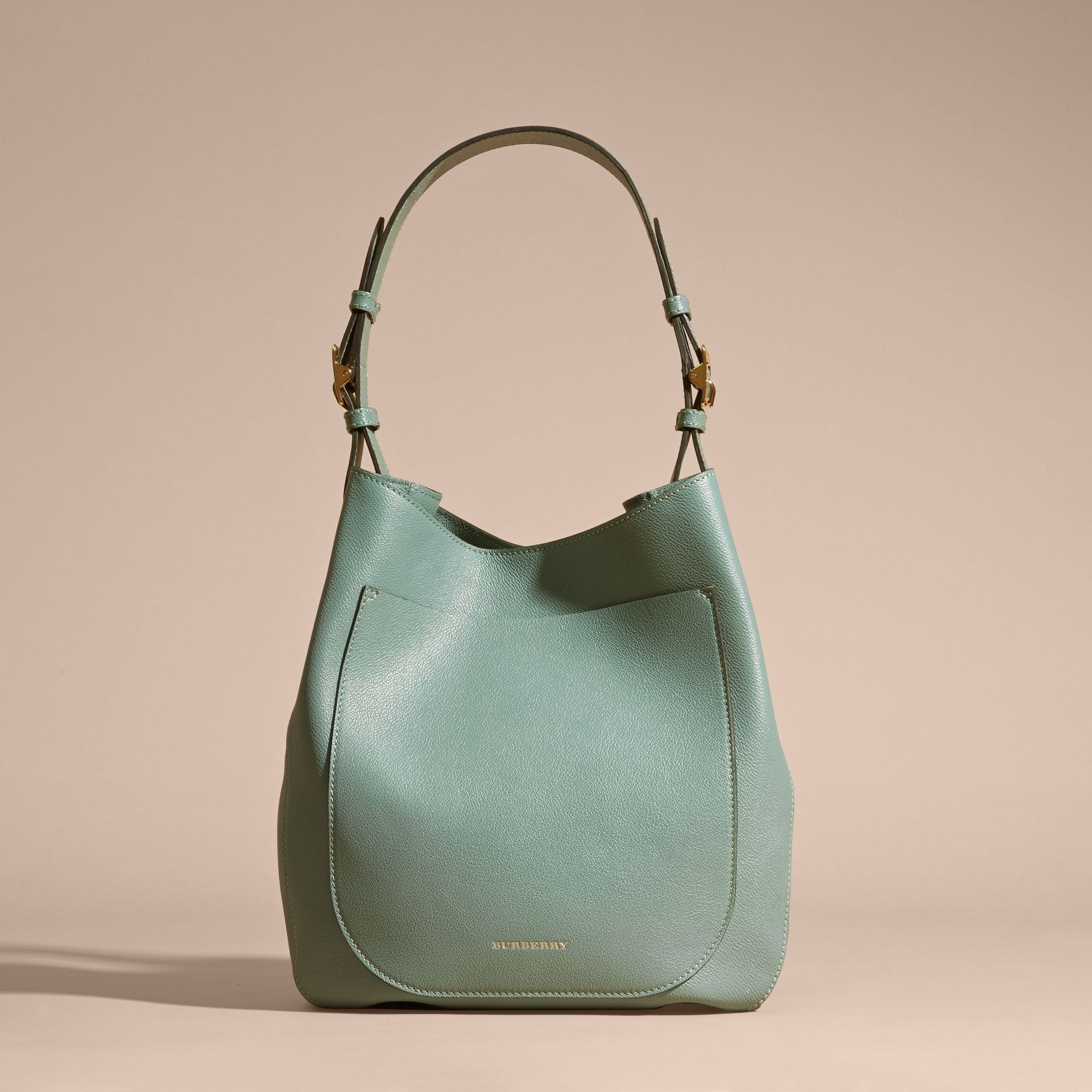 Textured Leather Shoulder Bag Eucalyptus Green - gallery image 8