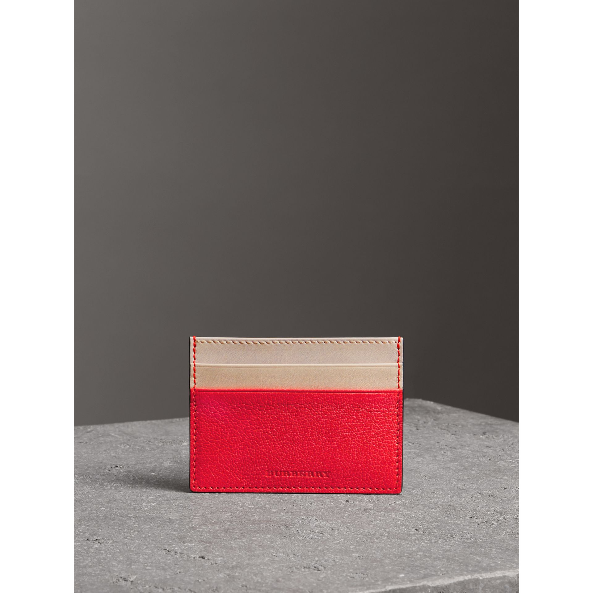 Two-tone Leather Card Case in Bright Red | Burberry - gallery image 4