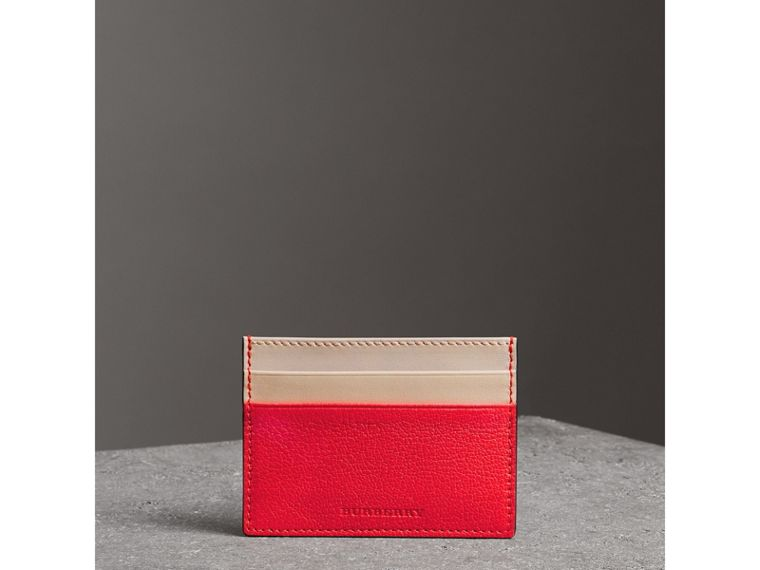 Two-tone Leather Card Case in Bright Red | Burberry - cell image 4