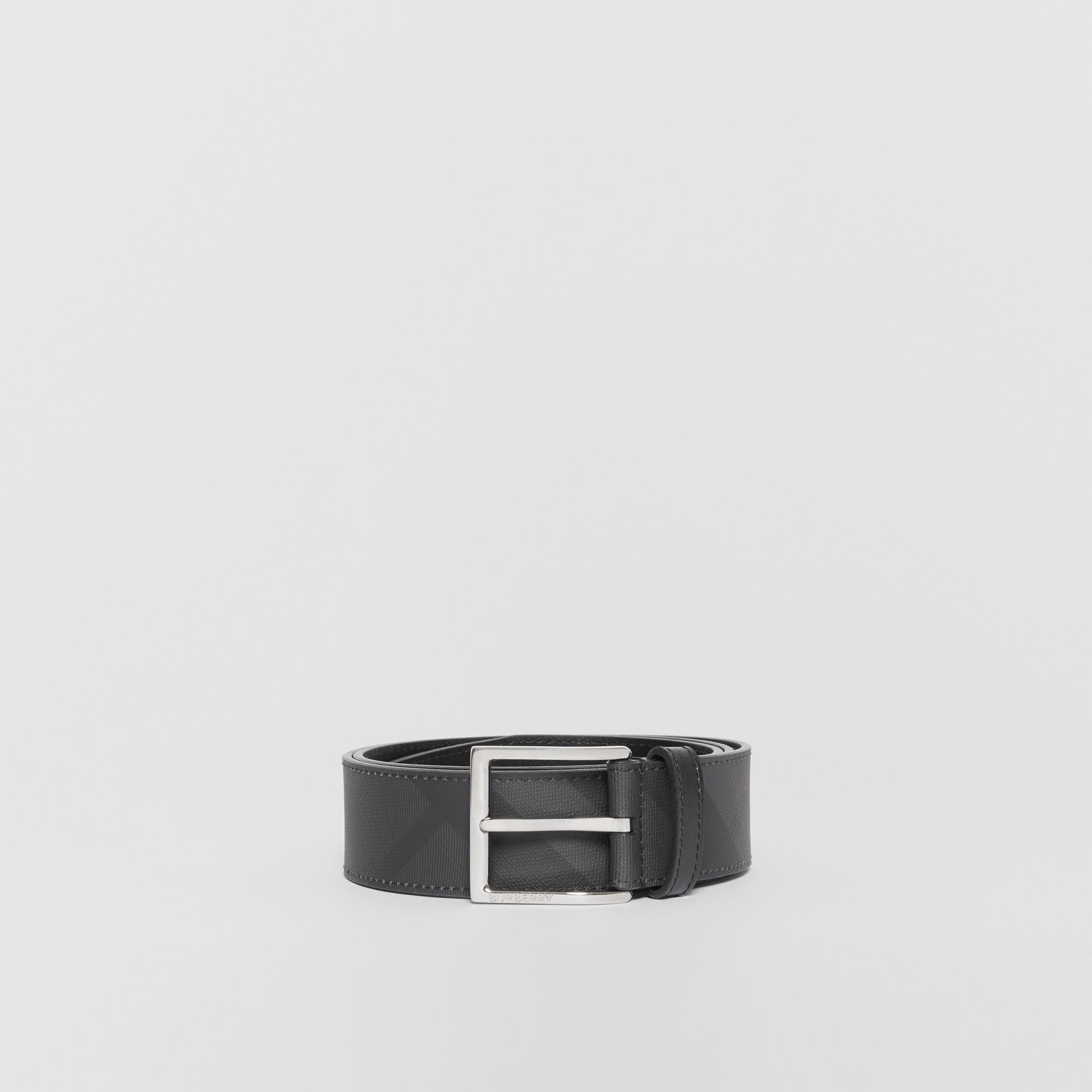 London Check and Leather Belt in Dark Charcoal/black - Men | Burberry Hong Kong - gallery image 3