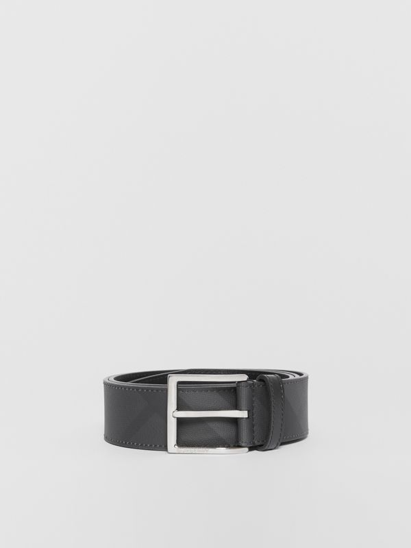 London Check and Leather Belt in Dark Charcoal/black - Men | Burberry Hong Kong - cell image 3