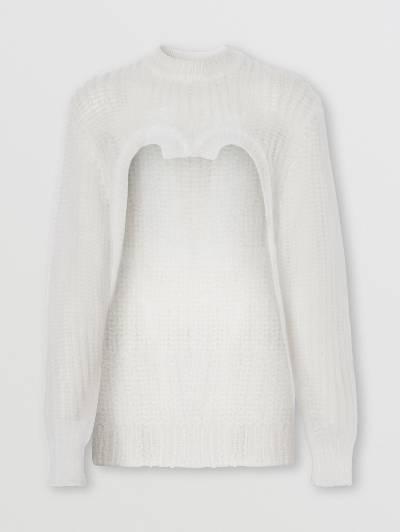 Technical Knitted Reconstructed Sweater in Optic White