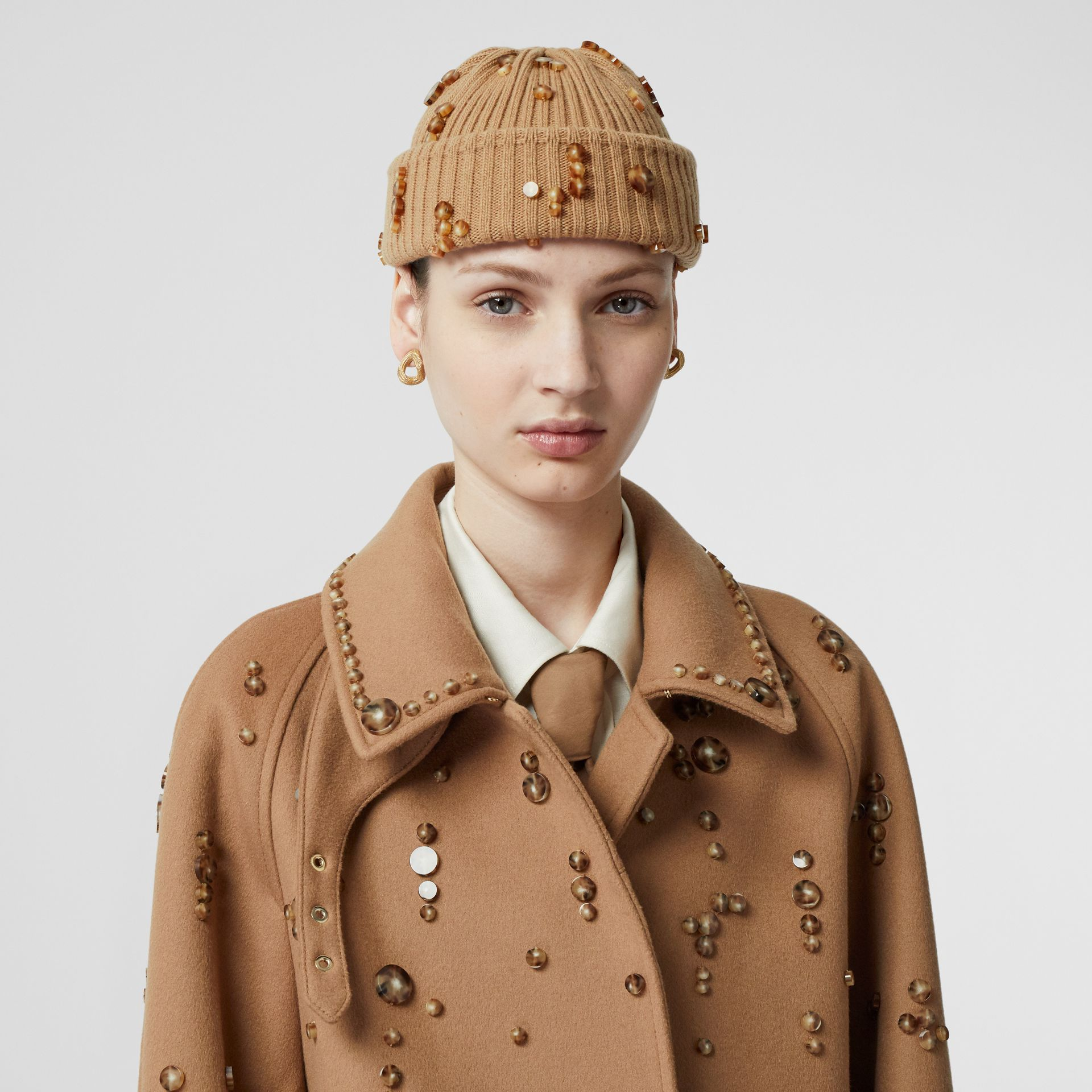 Embellished Rib Knit Wool Beanie in Warm Camel | Burberry - gallery image 2