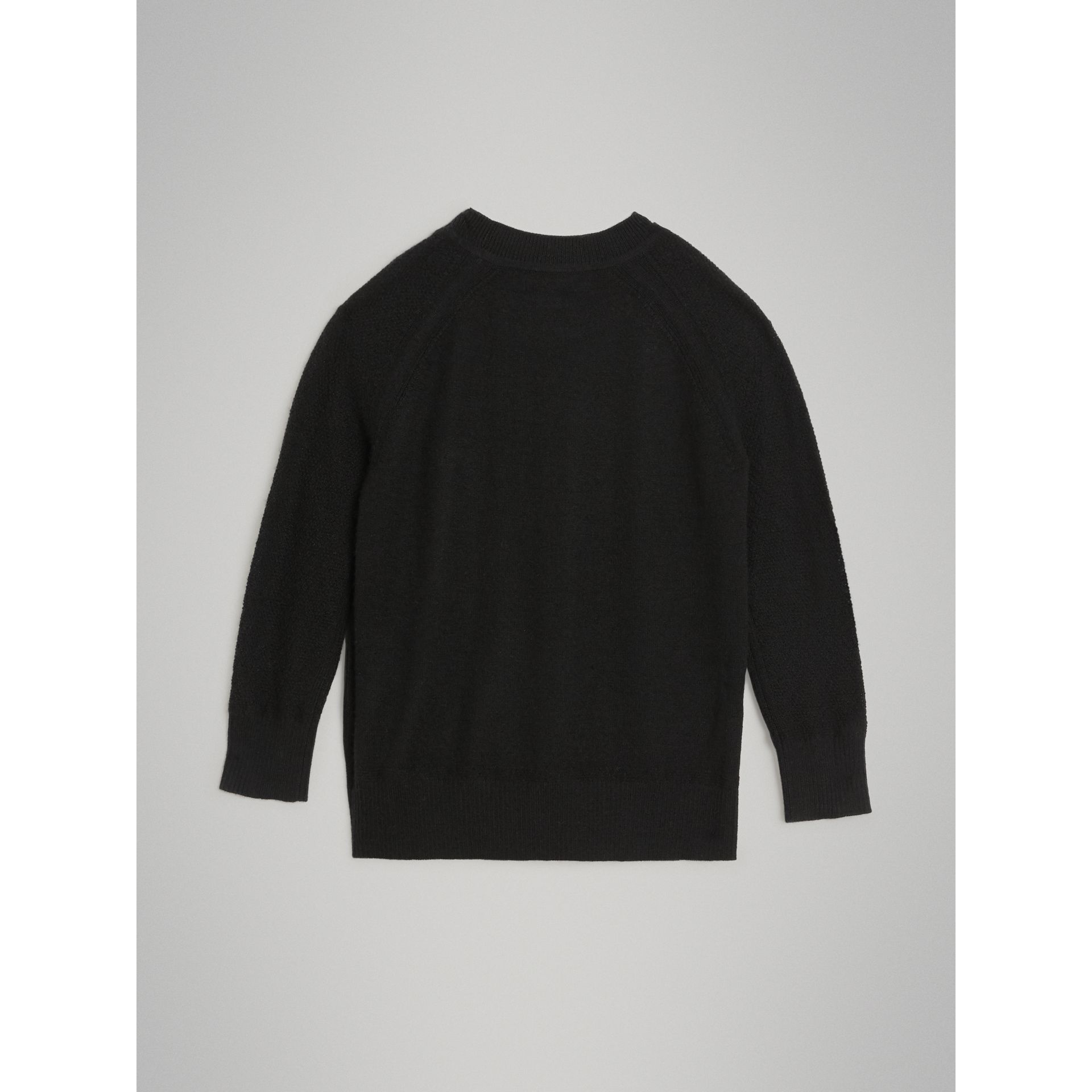 Crew Neck Cashmere Sweater in Black | Burberry Australia - gallery image 3