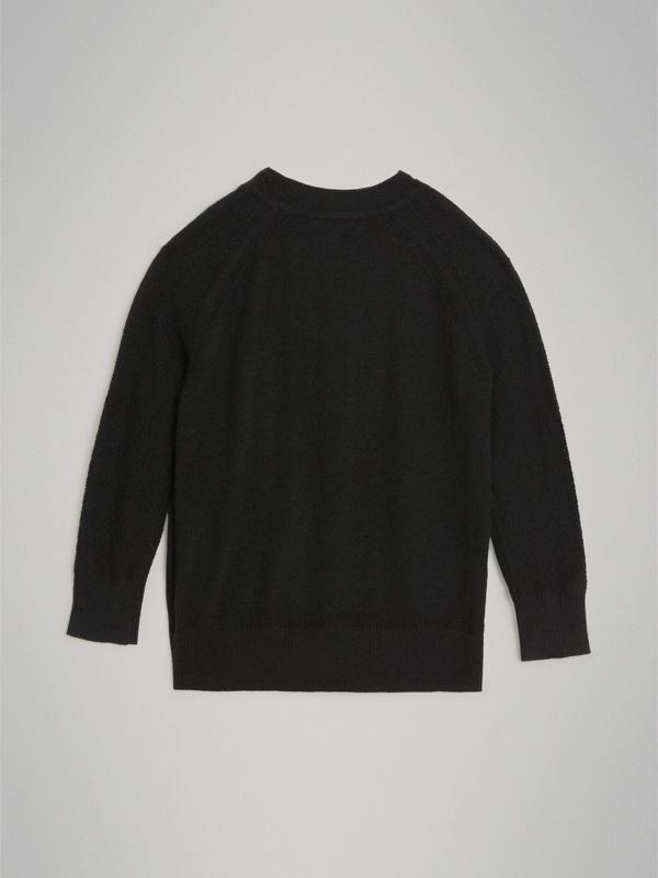 Crew Neck Cashmere Sweater in Black | Burberry Australia - cell image 3
