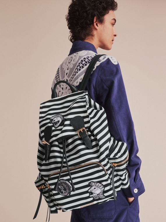 The Medium Rucksack with Pallas Heads and Helmet Appliqué in Black/white - Women | Burberry Hong Kong - cell image 2