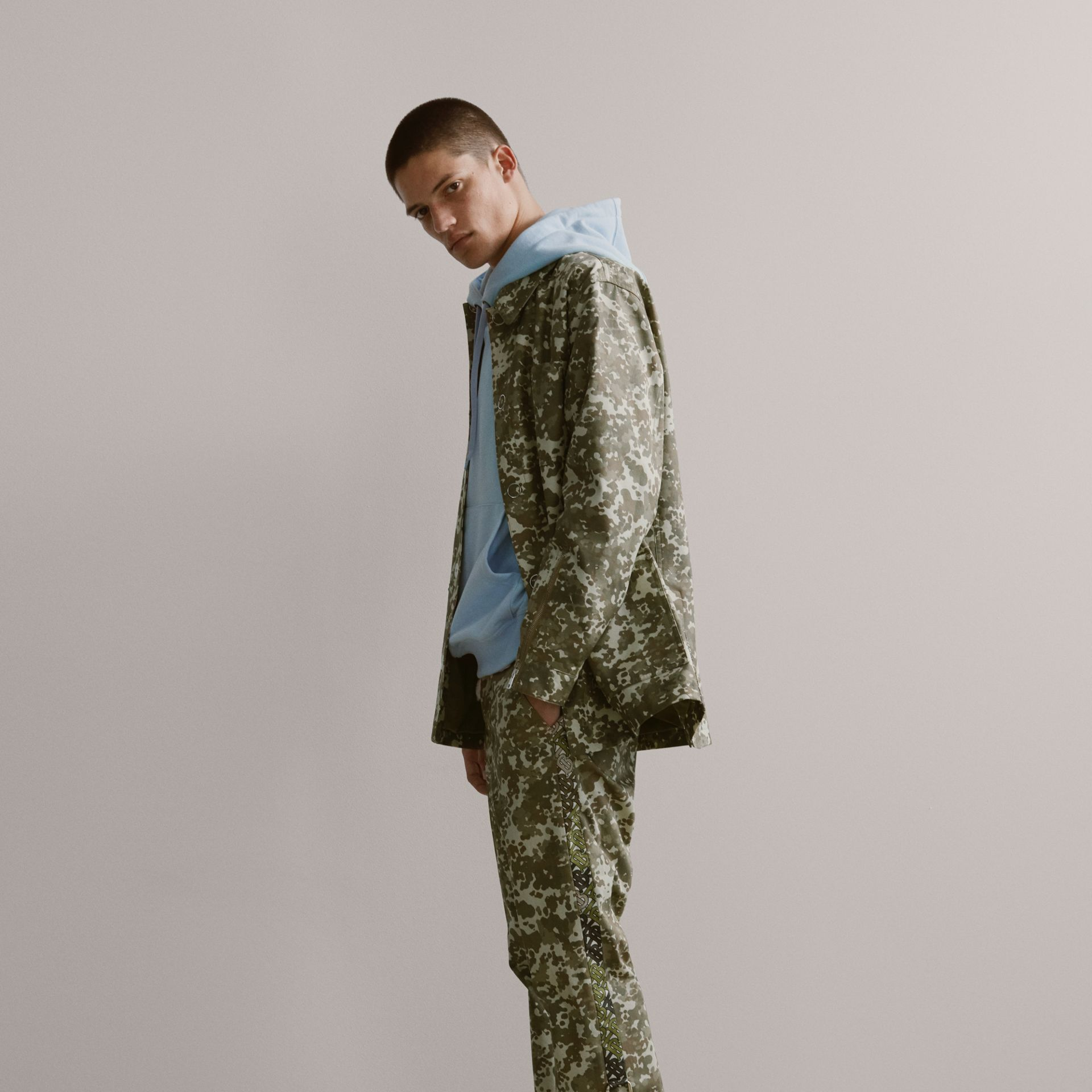 Camouflage Print Cotton Gabardine Jacket in Khaki Green - Men | Burberry United States - gallery image 1