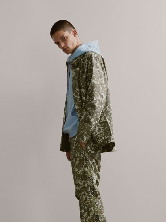 Camouflage Print Cotton Gabardine Jacket in Khaki Green - Men | Burberry United States - cell image 1
