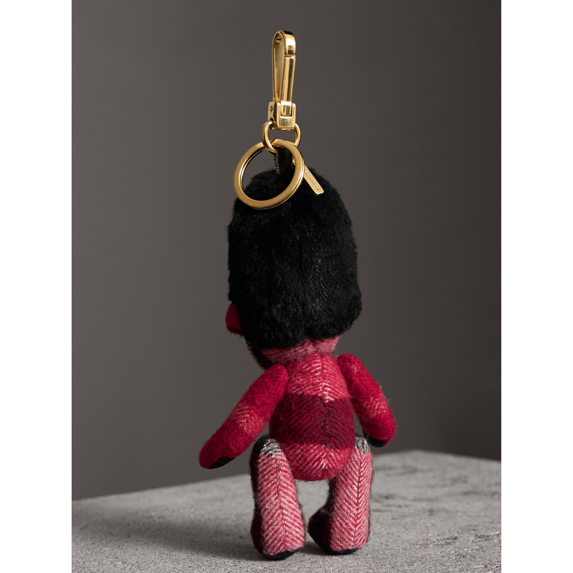 The Guardsman Thomas Bear Charm in Check Cashmere in Parade Red | Burberry - gallery image 4