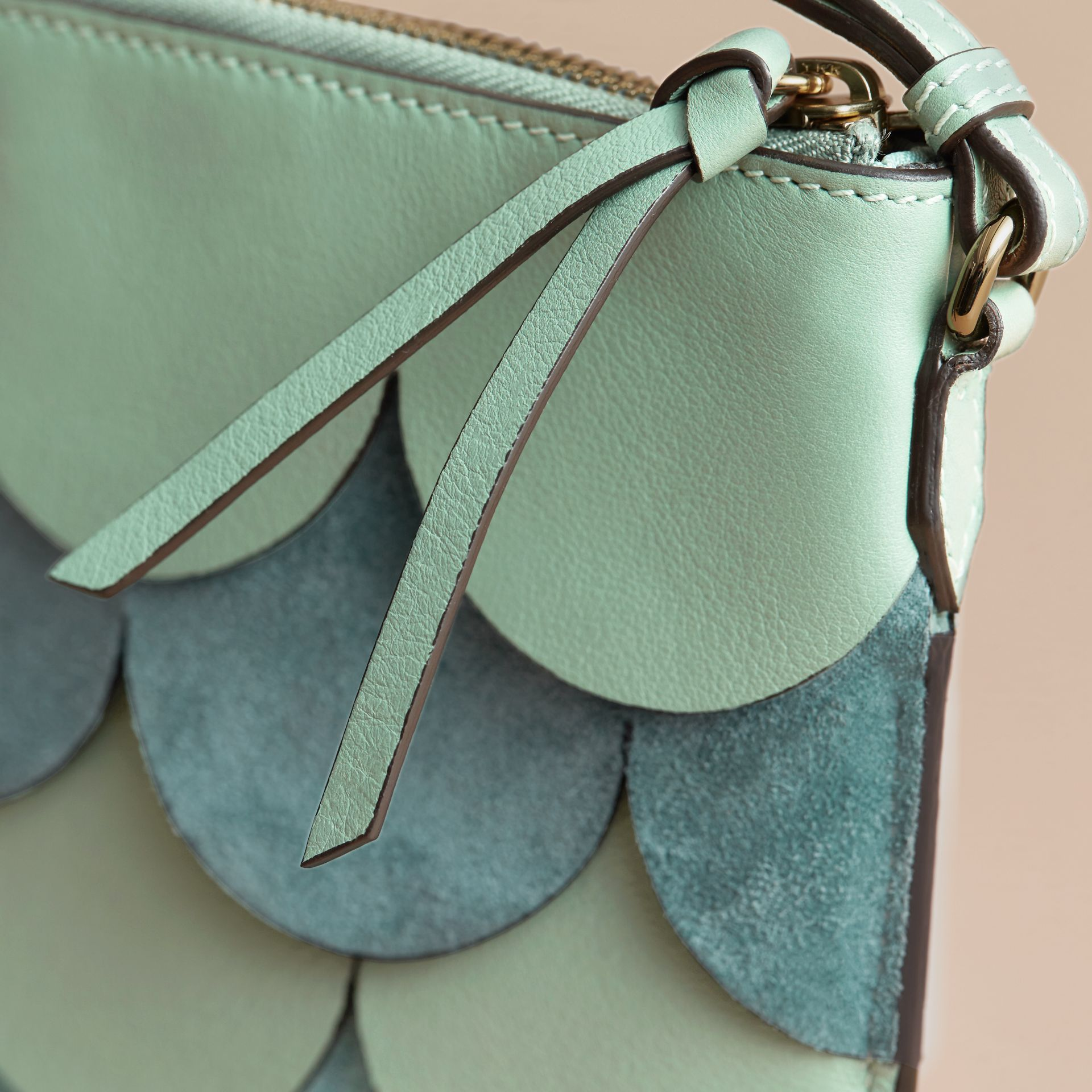 Two-tone Scalloped Leather and Suede Clutch Bag in Celadon Green - Women | Burberry Australia - gallery image 2