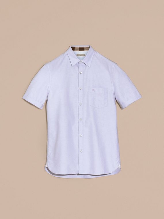 Check Detail Short-Sleeved Cotton Oxford Shirt Cornflower Blue - cell image 3