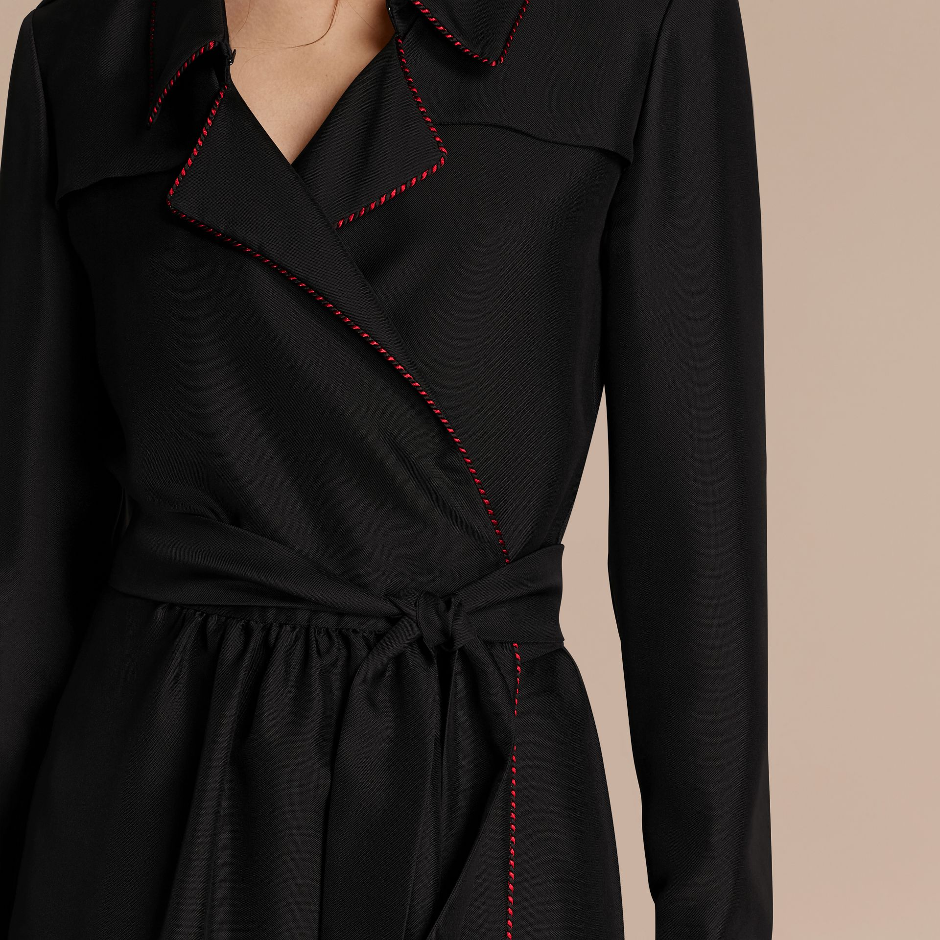 Black Silk Wrap Trench Dress with Military Piping - gallery image 6