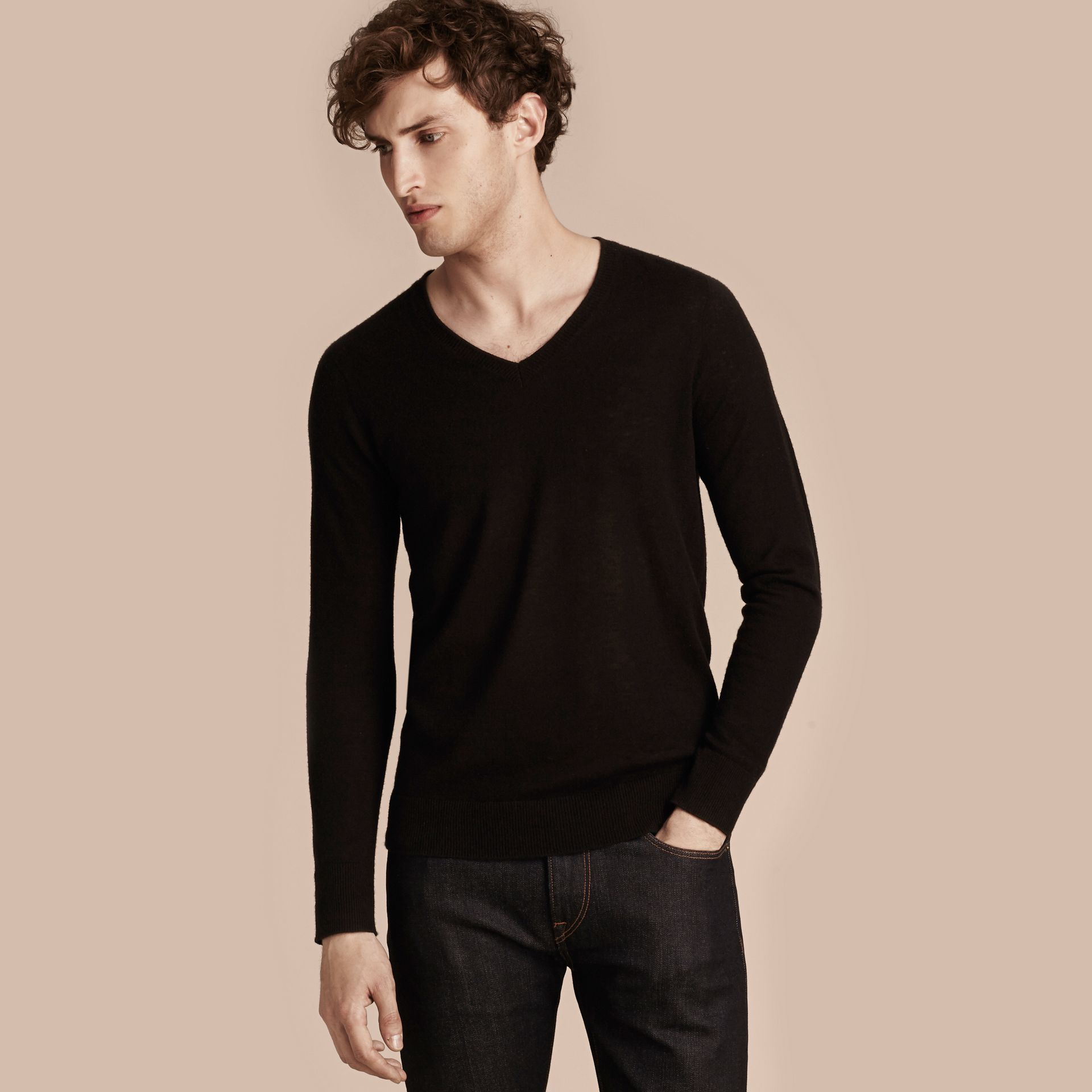 Black Cashmere V-neck Sweater Black - gallery image 6
