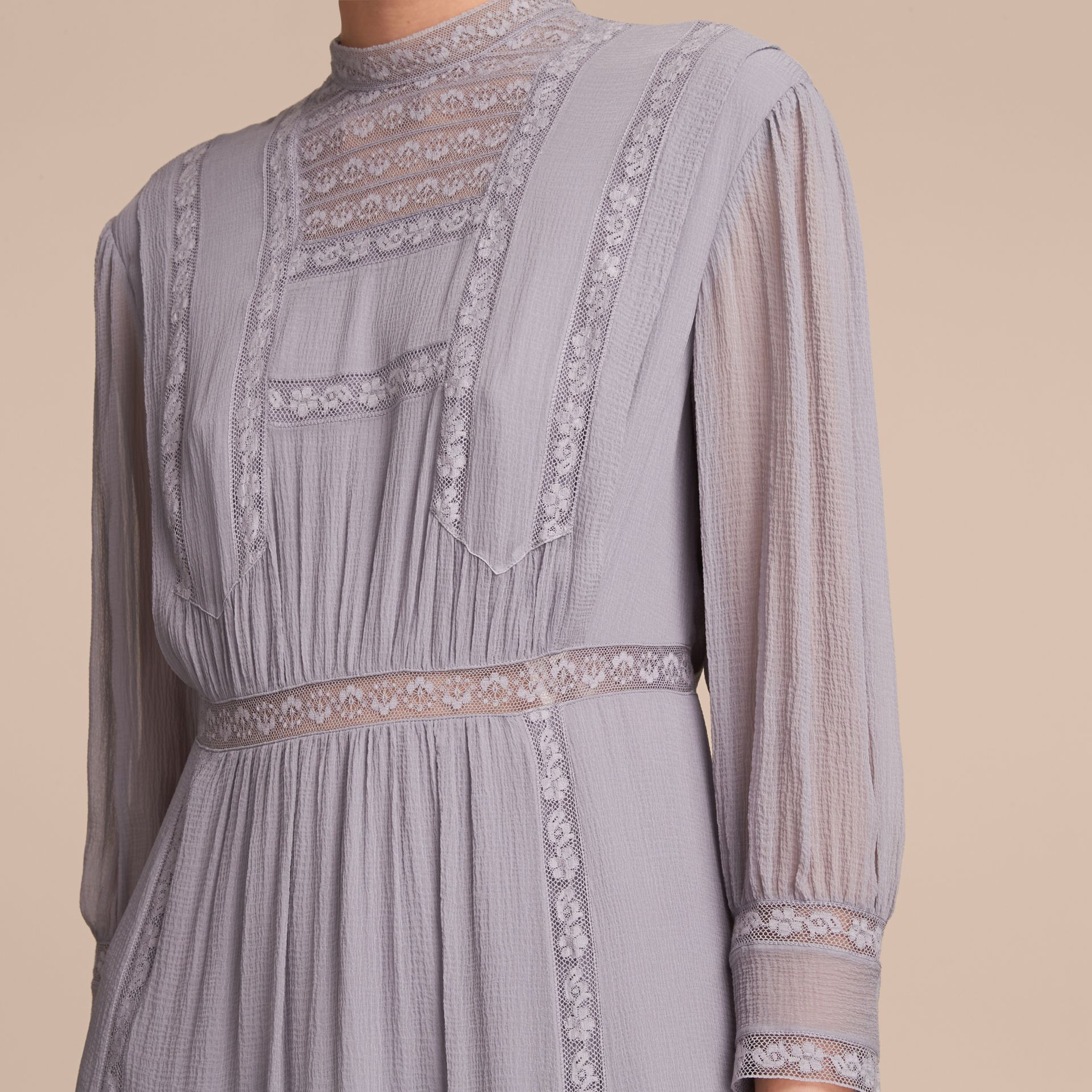 Lace Detail Silk Crepon Dress in Pale Lilac - Women | Burberry Hong Kong - gallery image 5