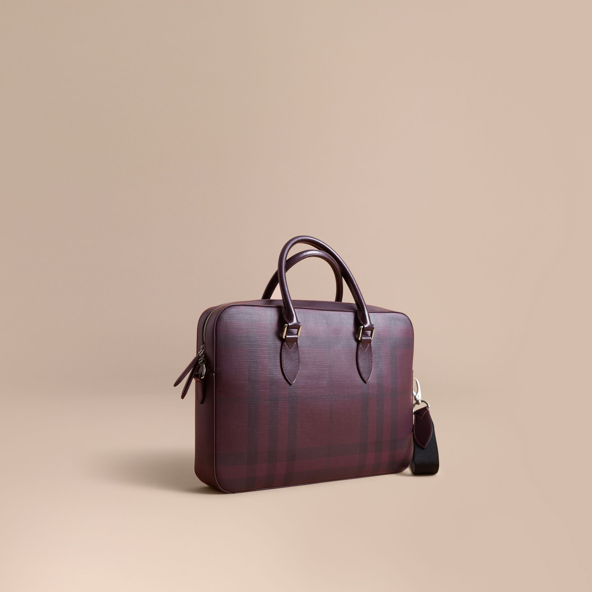 Medium Leather Trim London Check Briefcase in Deep Claret - Men | Burberry - gallery image 1